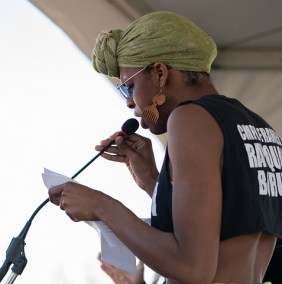Myka Johnson at podium