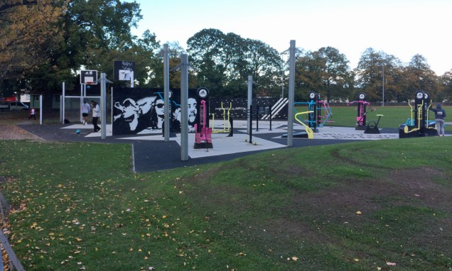 The skatepark would wrap around the outdoor gym