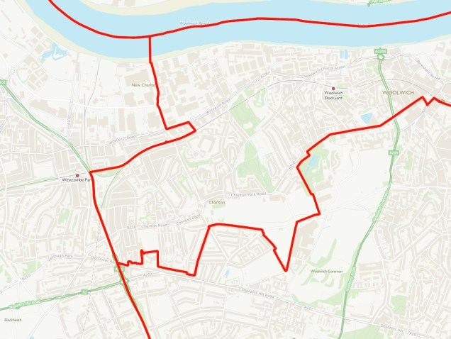 Charlton proposed boundary map