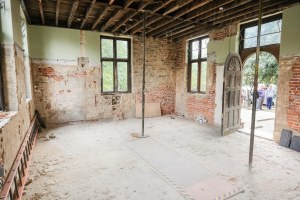 Inside Charlton House's Summer House during restoration