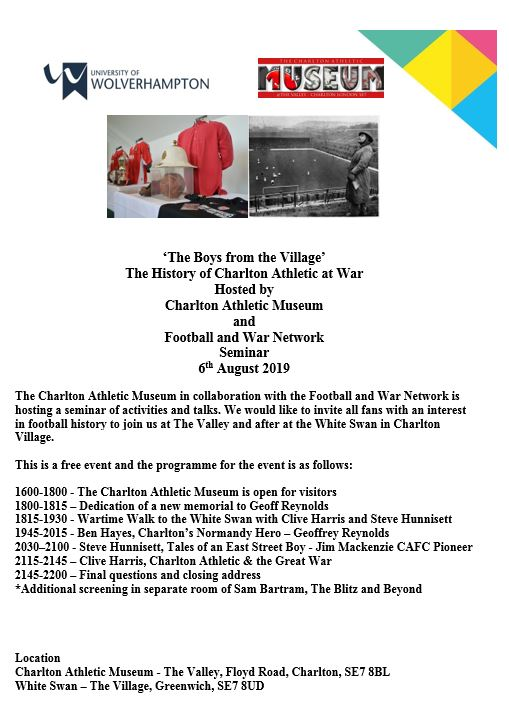 Poster for Charlton Athletic at War event