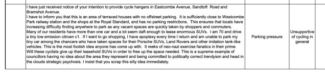 """I have just received notice of your intention to provide cycle hangers in Eastcombe Avenue, Sandtoft Road and Bramshot Avenue. I have to inform you that this is an area of terraced houses with no offstreet parking. It is sufficiently close to Westcombe Park railway station and the shops at the Royal Standard, and has no parking restrictions. This ensures that locals have increasing difficulty finding anywhere to park as any vacant spaces are quickly taken by shoppers and commuters. Many of our residents have more than one car and a lot seem daft enough to lease enormous SUVs. I am 70 and drive a tiny low emission citroen c1. If I want to go shopping, I have apoplexy every time I return and am unable to park my tiny car among the chancers who have taken spaces for their Porsche SUVs, Land Rovers and other imitation tank-like vehicles. This is the most foolish idea anyone has come up with. It reeks of neo-nazi exercise fanatics in their prime. Will these cyclists give up their leasehold SUVs in order to free up the space needed. This is a supreme example of councillors having no idea about the area they represent and being committed to politically correct trendyism and head in the clouds strategic psychosis. I insist that you scrap this silly idea immediately."""