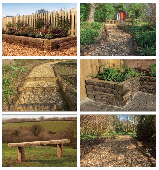 landscaping using rustic Sleepers