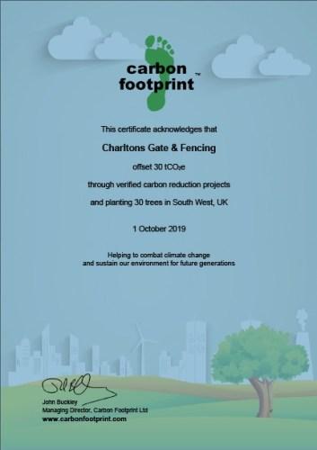 Charltons tree planting certificate