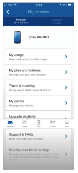 Bell Mobile App interface