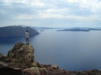 Santorini. Views of the Kameni islands from Thera.