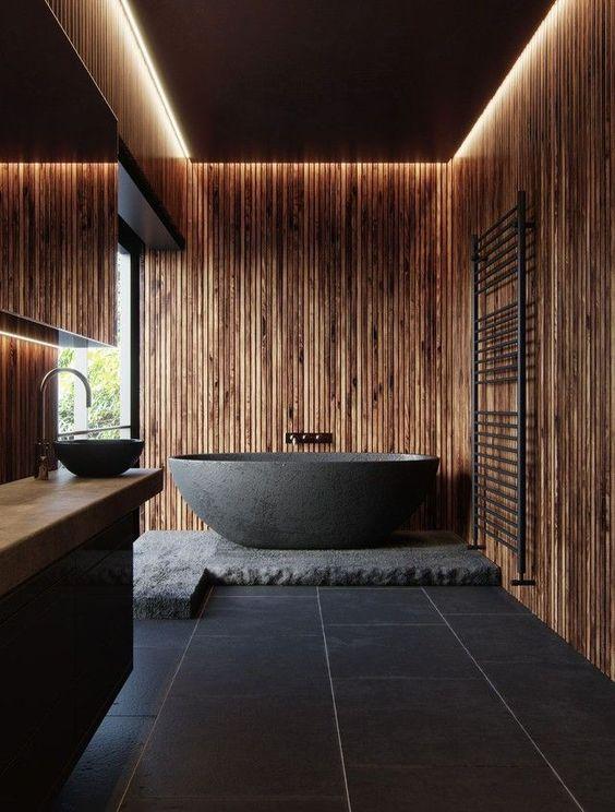 48.絶妙な木製の抱擁バスルーム