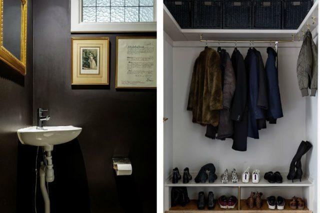 スカンジナビアの小さな黒いバスルームのデザイン