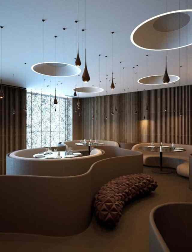 25魅力的で人気のある飲食店を作成するために盗むことができる興味深いスタイリッシュなレストランのアイデア(23)