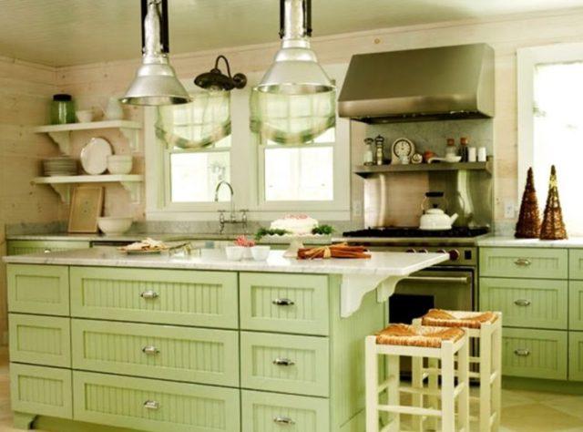 魅力的なグリーンキッチンキャビネット
