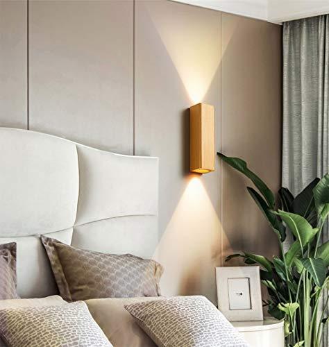 Phube 12W LEDウォールライトアルミニウムベッドルームウォールランプミニマリストアップダウンウォール壁取り付け用燭台(ゴールド)