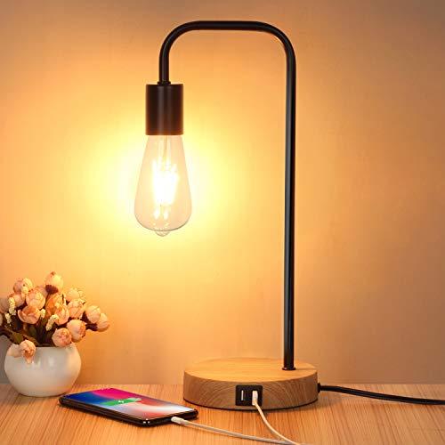 タッチコントロールテーブルランプ、USBデスクランプ、寝室、リビングルーム、オフィス用の2つのUSB充電ポートを備えた3ウェイ調光可能なモダンナイトスタンドランプ、調光可能なヴィンテージ6W ST64 E26LED電球が含まれています
