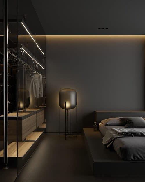 ダークモダンなベッドルームのアイデア