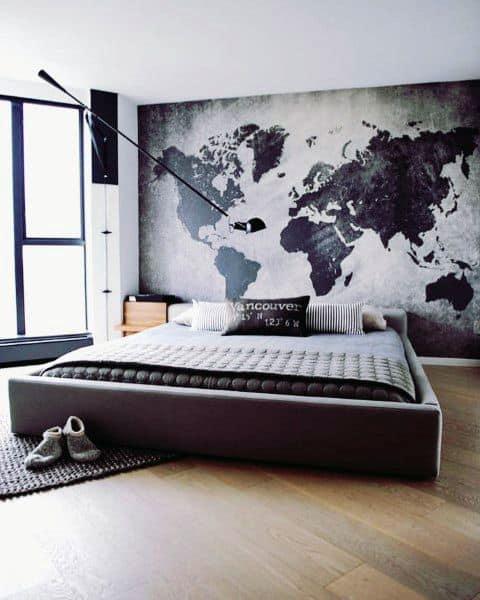 灰色のモダンなベッドルームのアイデア