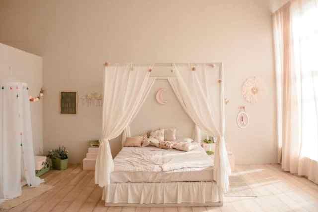 キャノピーロマンチックなベッドルームのアイデア3
