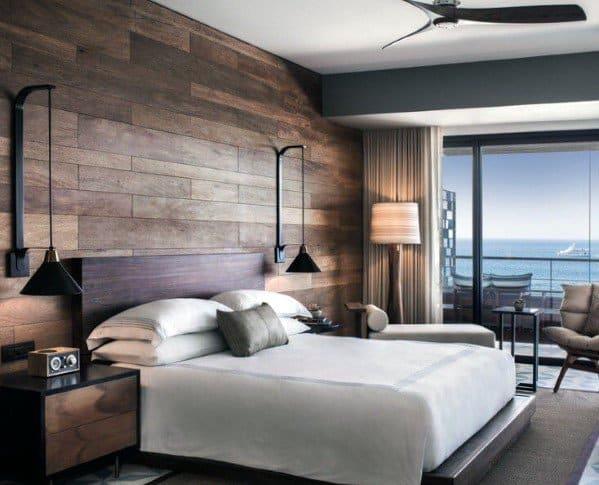 パネリング寝室の壁の装飾のアイデア