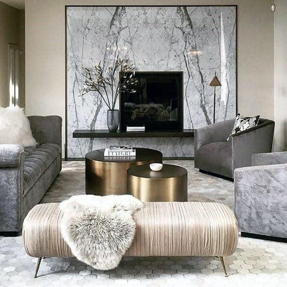 灰色のフォーマルなリビングルームのアイデア