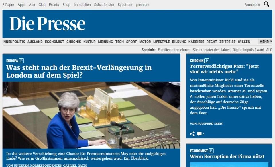 The homepage of Austria's Die Presse