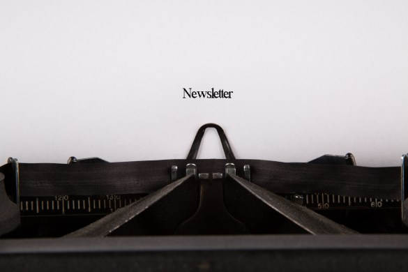 The word newsletter on a page typed on an old typewriter. Photo by George Hodan, Public Domain