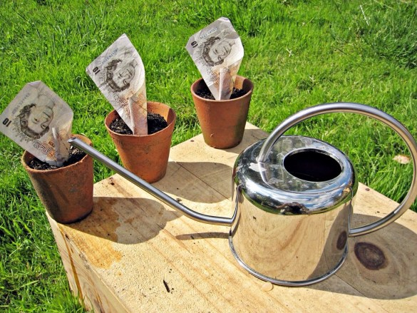 Three flower pots with British 10 pound notes in them with a silver water can in front of them.