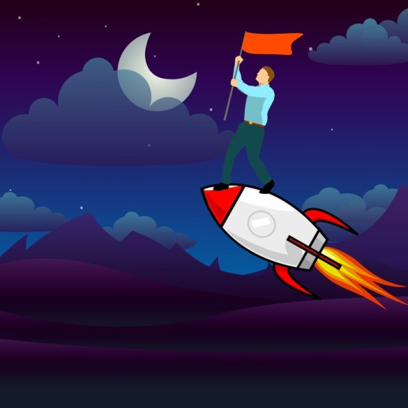Business launch. An illustration of a man in business casual clothes holding a flag as he stands on a rocket. By Mohamed Hassan/pxhere.com