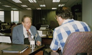 Photo of Stan Hollander and Robert Tamilia in discussion at CHARM 1993