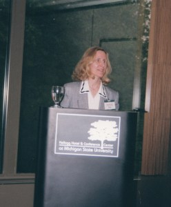 Photo of Pamela Laird presenting at the 1999 CHARM Conference