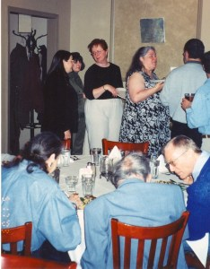 Photo of CHARM 2003 participants queuing for a meal