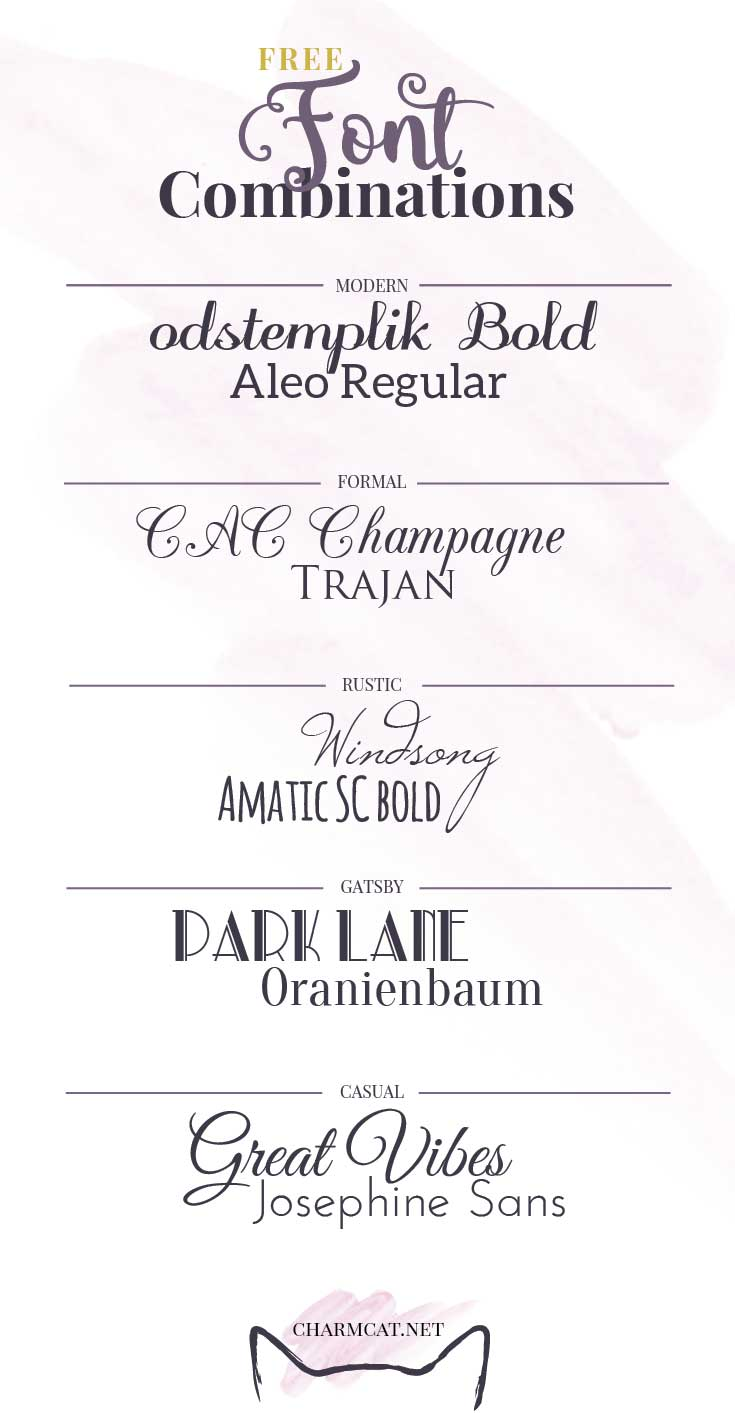 Font Binations For Wedding Invitations 10 Free Fonts By Charmcat Stationery Design