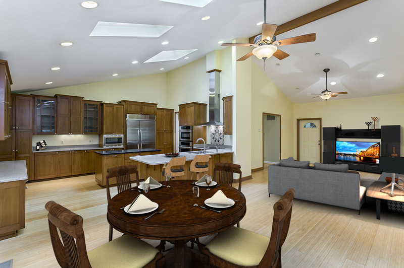 virtually staged kitchen and family room