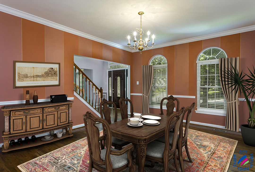 virtually staged dining room