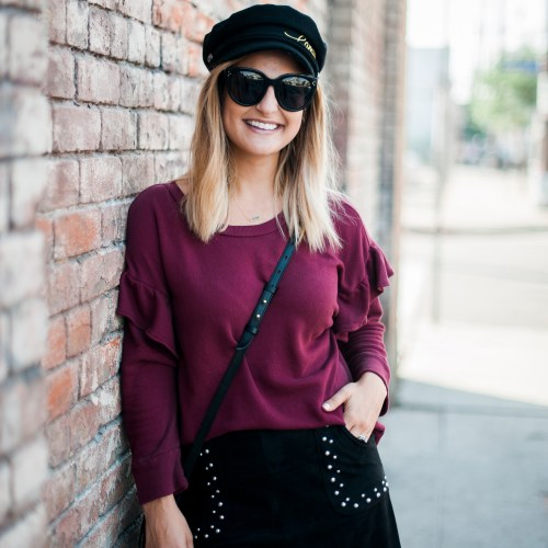 Burgundy Sweater | Charmed by Camille