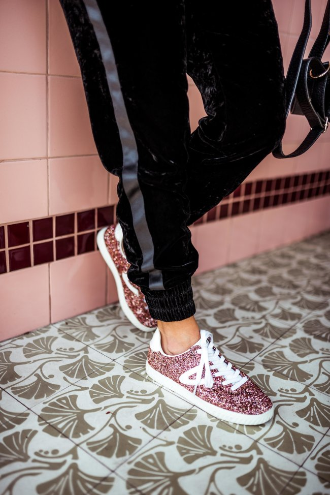 Pink Glitter Sneakers | Charmed by Camille