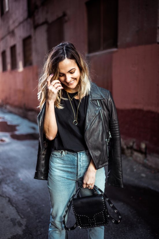 How to Style a Leather Jacket   Charmed by Camille