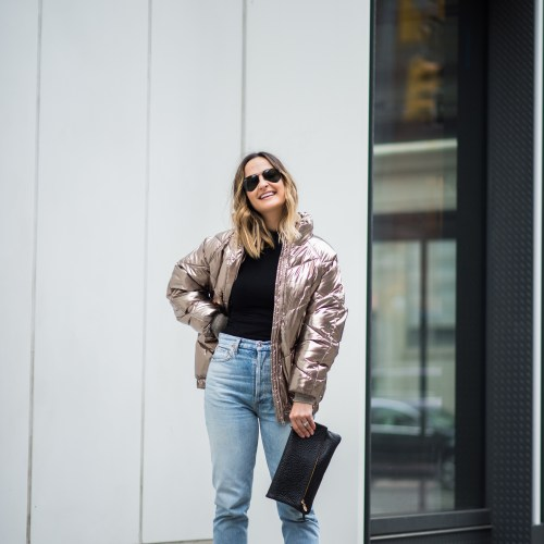 Gold Puffer Jacket | Charmed by Camille