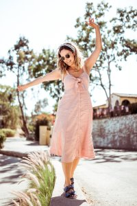 Pink Button Up Dress | Charmed by Camille