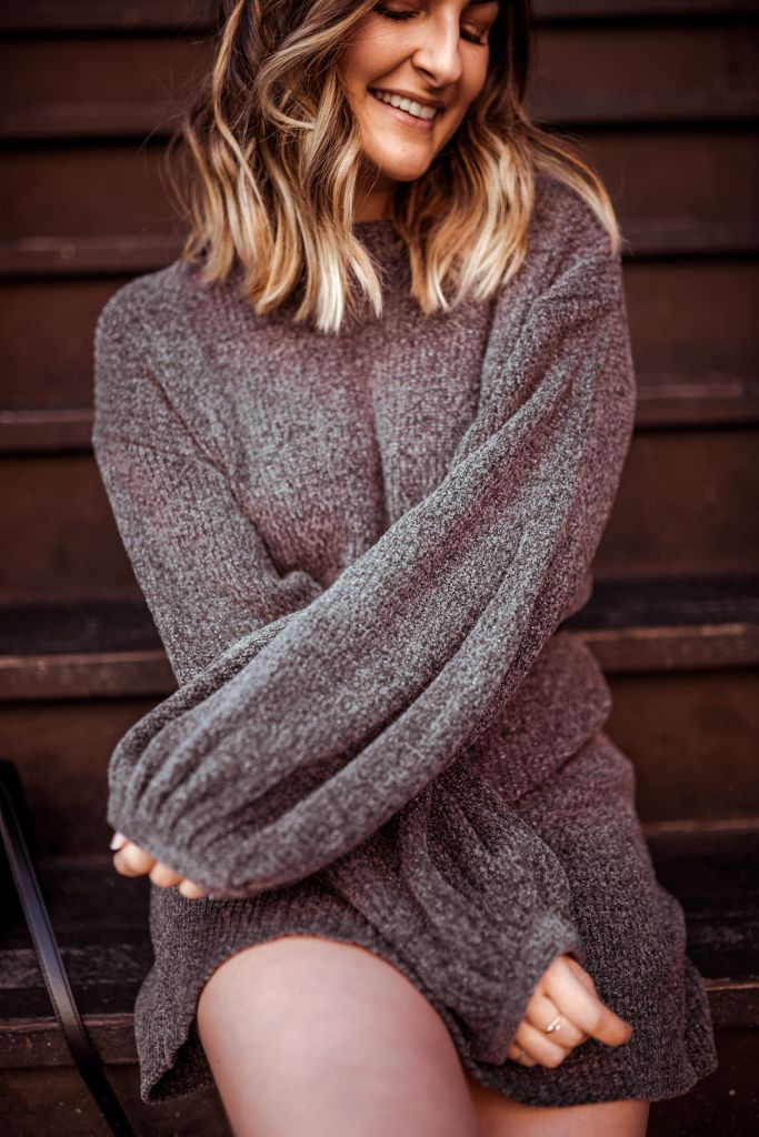 Gray Sweater Dress | Charmed by Camille