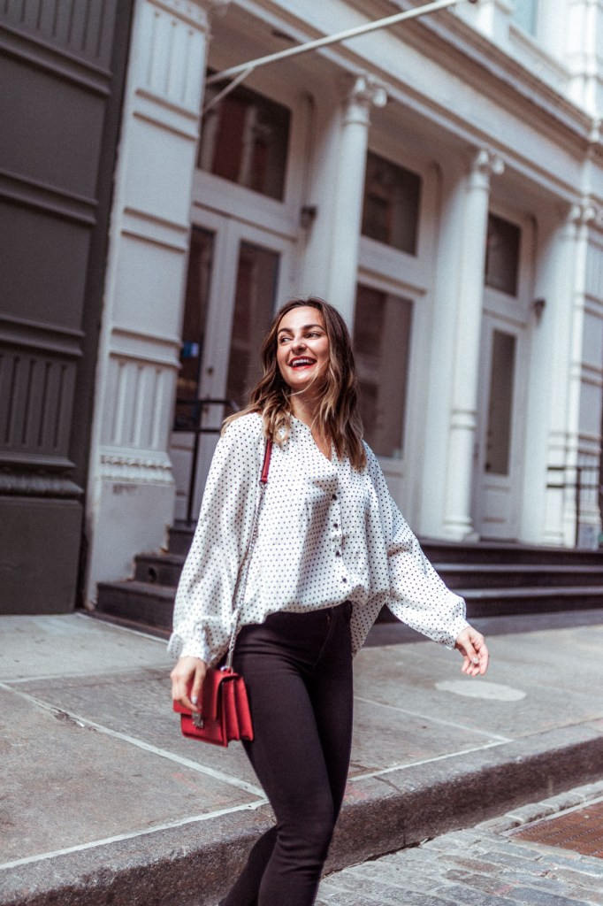 White Polka Dot Top | Charmed by Camille