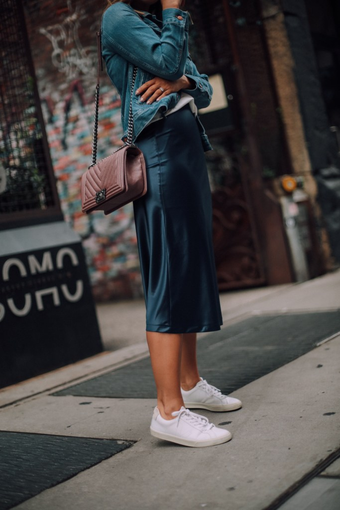 How to Style a Slip Skirt into Fall | Charmed by Camille