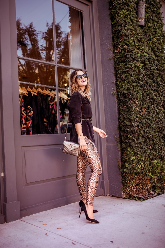 Snakeskin Leggings Outfit | Charmed by Camille