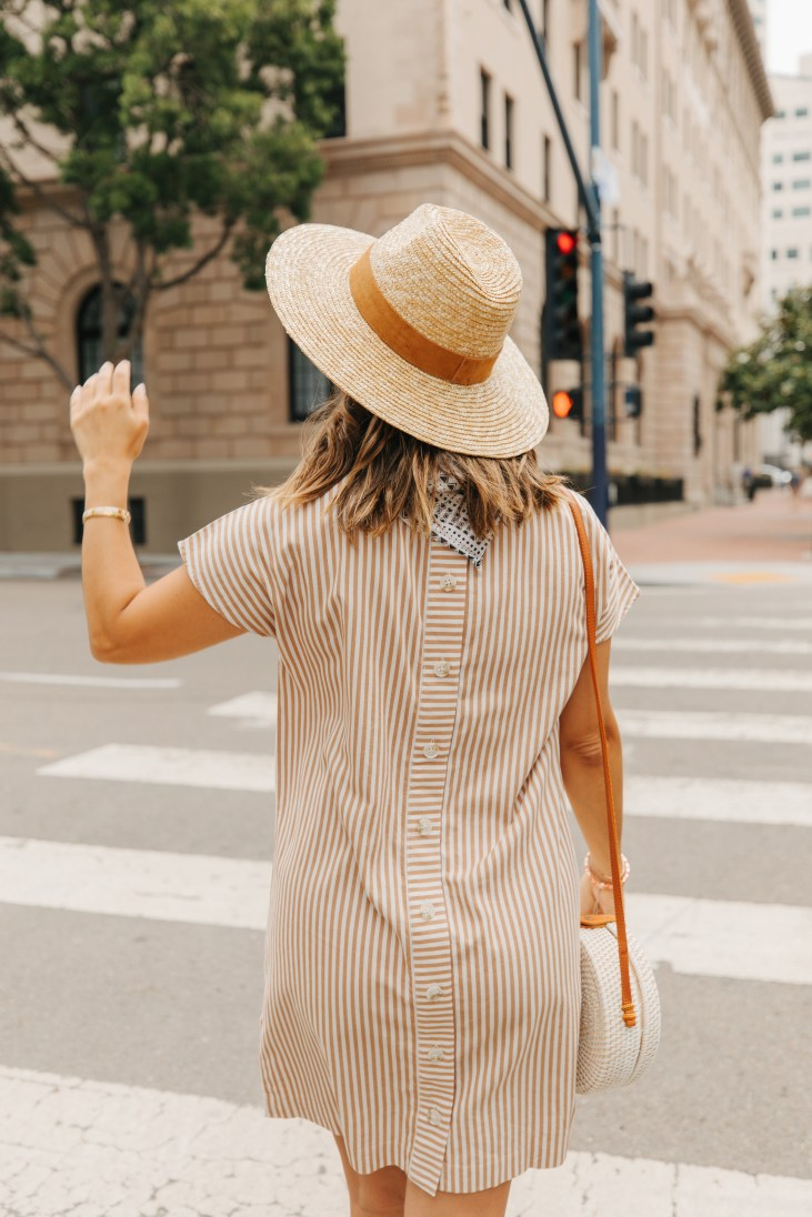 Striped Dresses, Straw Hat, Casual Summer Outfit | Charmed by Camille
