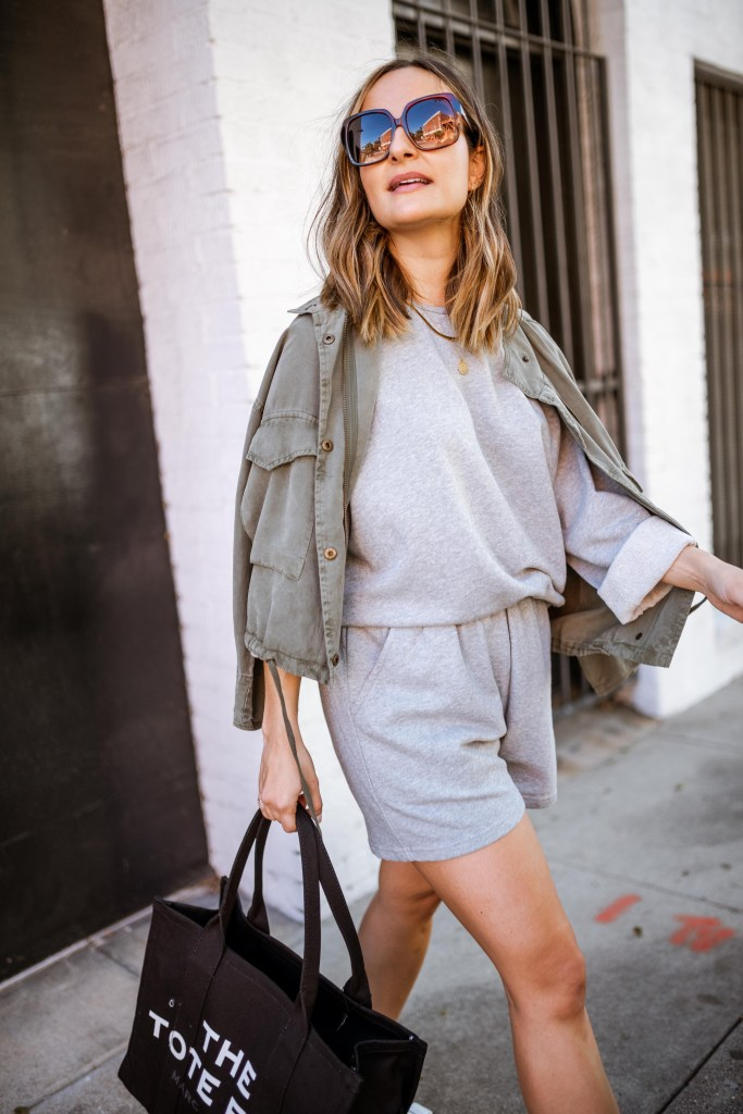 Sweat Shorts Outfit Ideas | Charmed by Camille