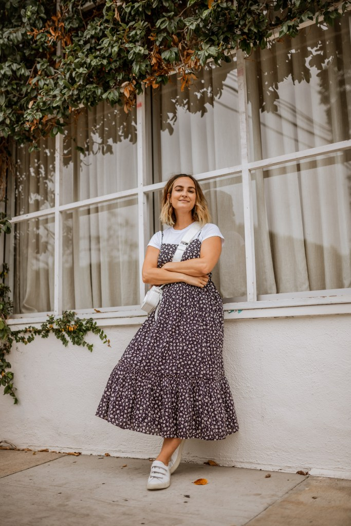 How To Easily Transition Your Summer Dress for Fall, Floral Dress Outfit Fall | Charmed by Camille