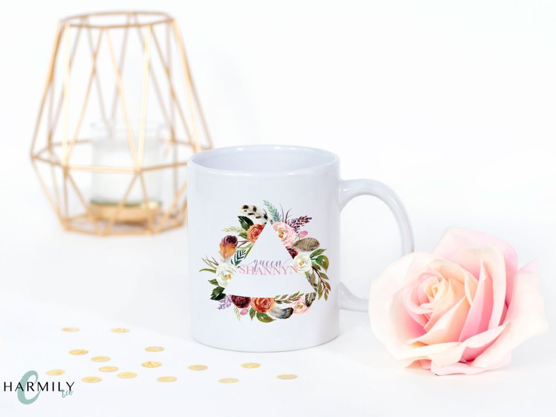 Floral Personalized Coffee Cups