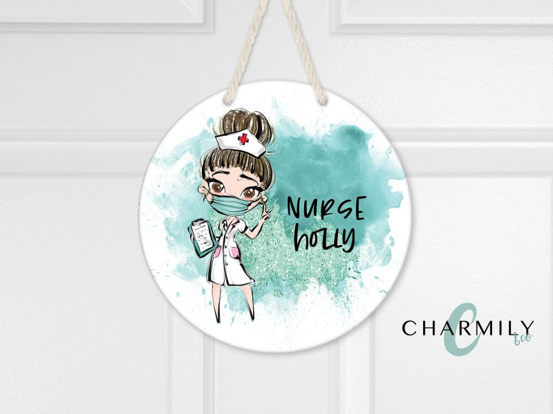 Nurse Round Wooden Wall Hanger