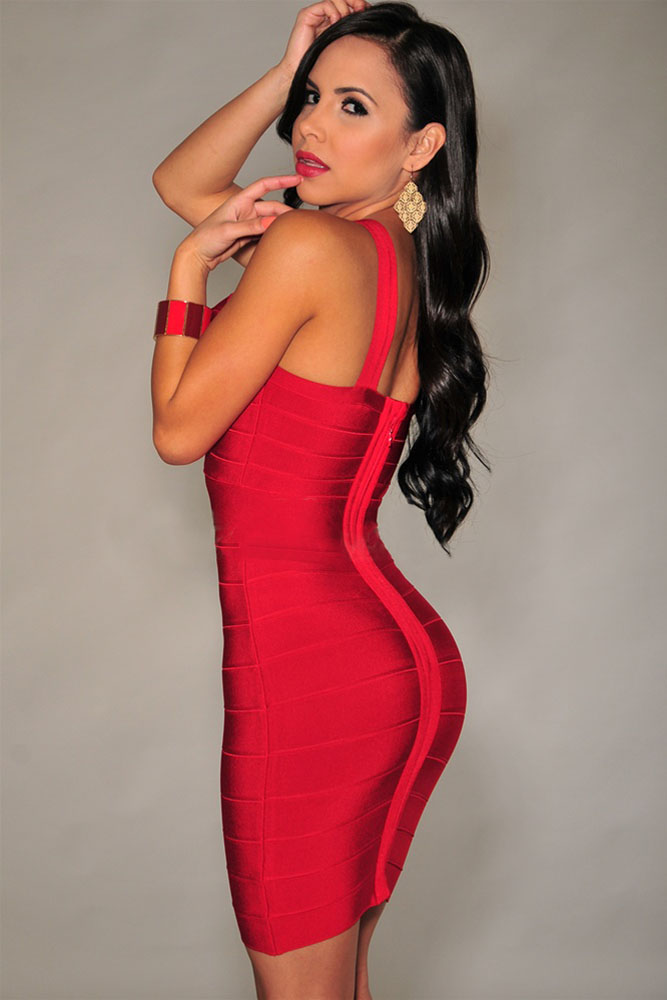 Red Cross Front Tight Dress Charming Wear