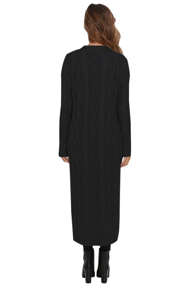 Black Knit Long Cardigan Sweater  Charming Wear