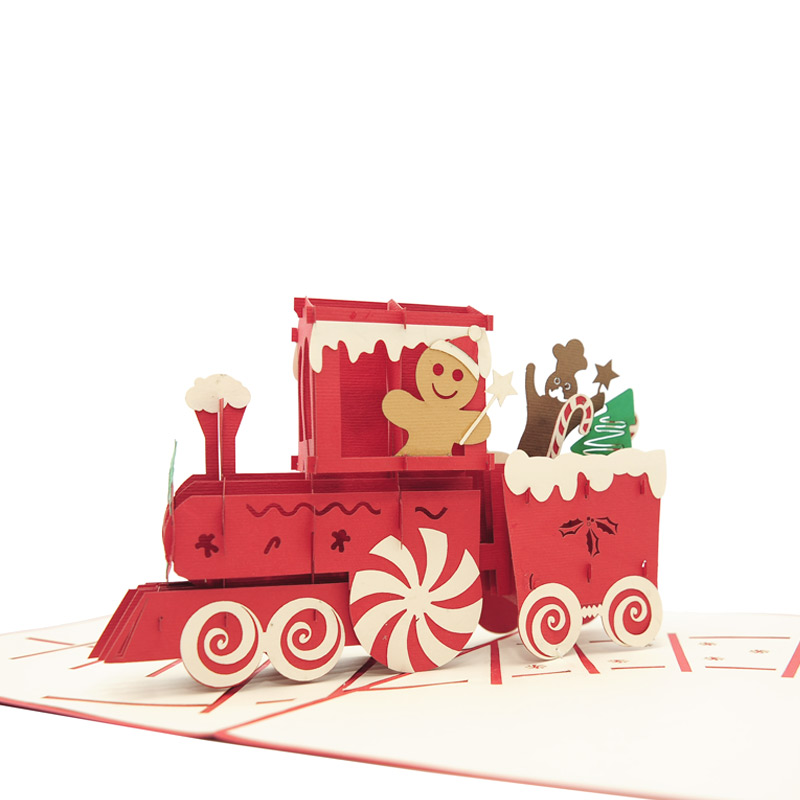 Gingerbread Train Pop Up Card Christmas Pop Up Card High
