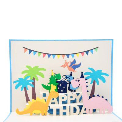 Birthday Dinosaur Pop Up Card Vietnam Custom 3D Cards