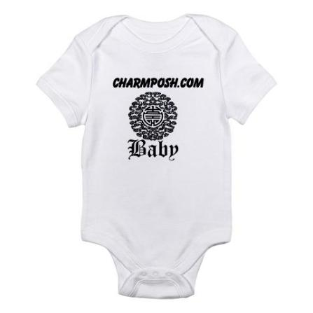Charm Posh Couture Baby Chinese Motif Bodysuit White